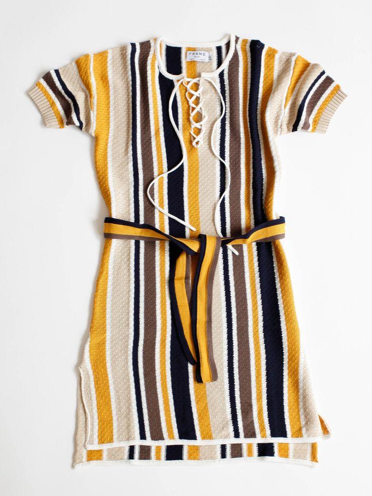 Frame Denim - Lace Up Shirt Dress - Multi Stripe