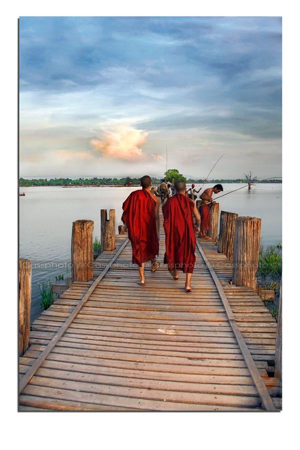 Monks on U Bein Bridge, Amarapura, Burma.