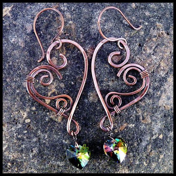 Wire Wrapped Copper Heart Earrings With by JayelleJewelry on Etsy, $26.00