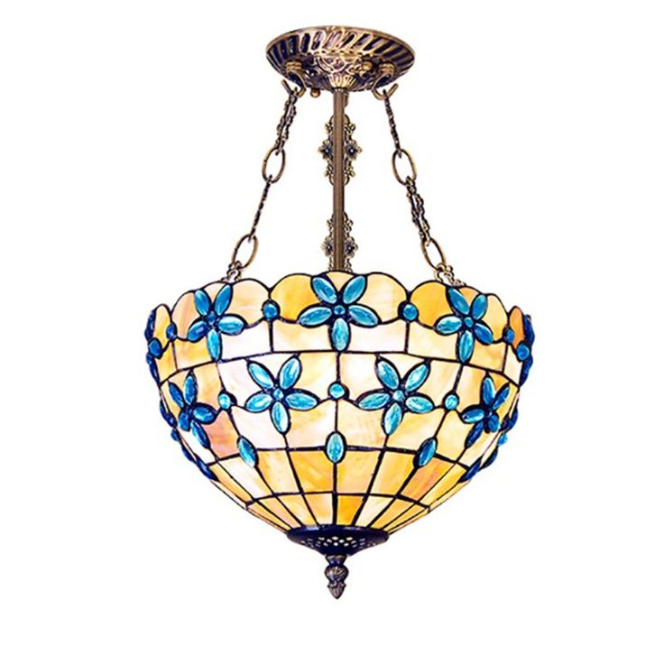 Tiffany Pendant Lamps Blue Flower Shell Cover Living Room Light Corridor  Bedroom Lamp #Affiliate