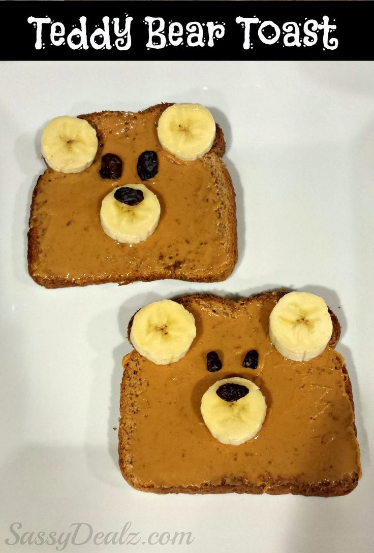 teddy bear toast kids healthy breakfast or lunch! Sun Butter, Nutella, Peanut Butter.