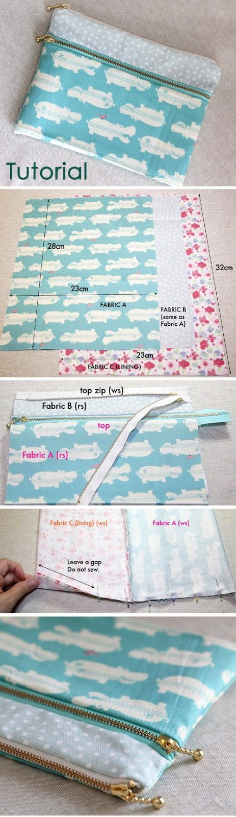 How to make a double zip pouch with two compartments. Sewing Tutorial DIY in Pictures. http://www.handmadiya.com/2015/11/double-zip-pouch-tutorial.html: