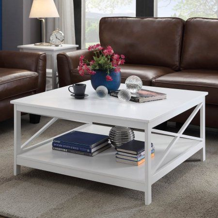 Convenience Concepts Oxford 36 Inch Square Coffee Table, Mutliple Colors,  White