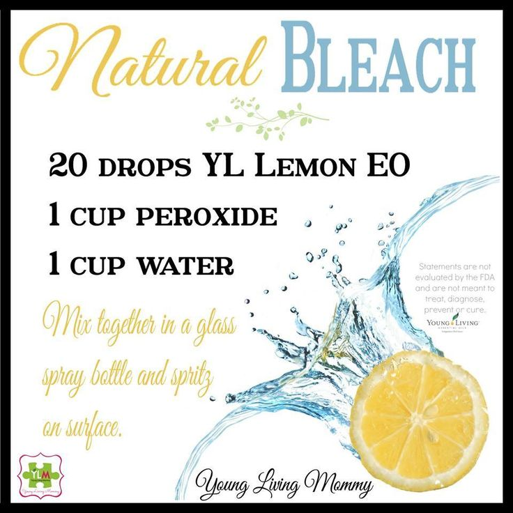 Organic Recipe for Natural Bleach 20 drops YL Lemon EO 1 c peroxide 1 c water Mix together in glass spray bottle and spritz on surface.
