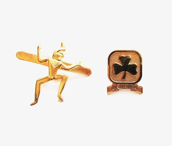 Vintage Girl Guide Tack Pins, Gold Metal Brownies Badges