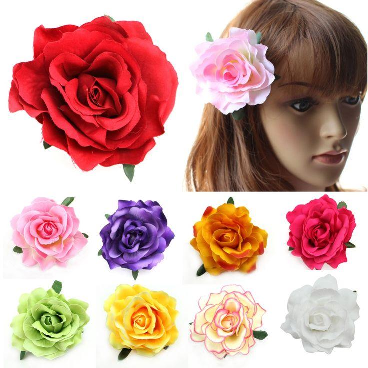 Flocking Cloth Red Rose Flower Hair Clip Hairpin DIY Headdress Hair Accessories For Bridal Wedding