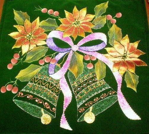 Dibujo de campa as y ponsetias pirograbados y pintadas a - Motivos navidenos para pintar en tela ...