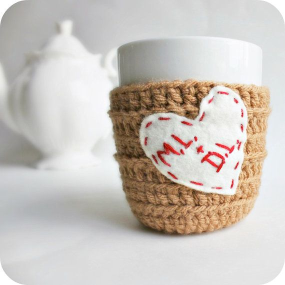 Valentine Coffee Mug Personalized Initials Love Heart crochet tan red white cover