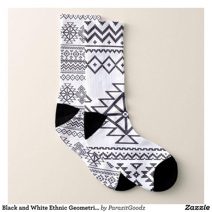 Personalized Crew Socks With Geometric Ethnic Black White Print For Women Men
