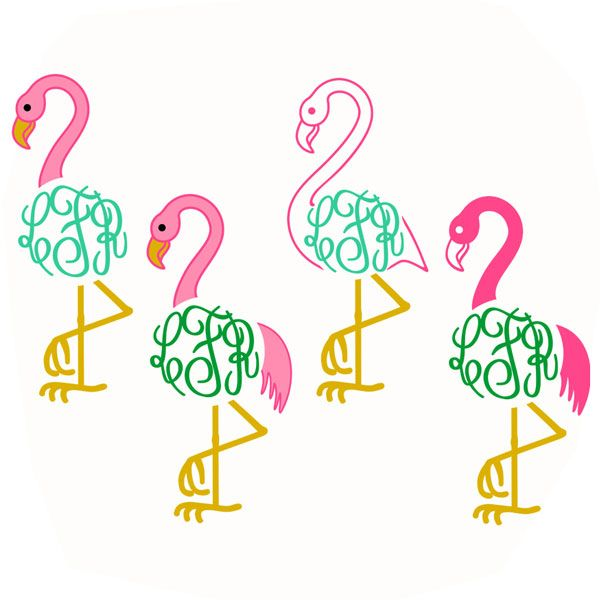 Flamingo Monogram Svg Cuttable Frames