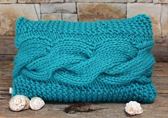 Chunky Turquoise Blue Bed Pillow Cover Hand by MicMacDesign