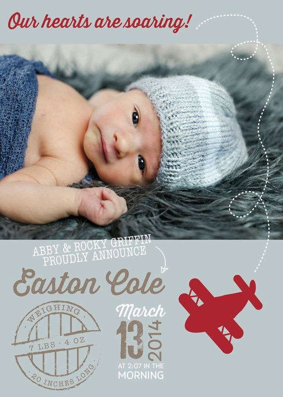 Blue Red and Beige Airplane Baby Boy Birth by Papernmoreok on Etsy, $35.00