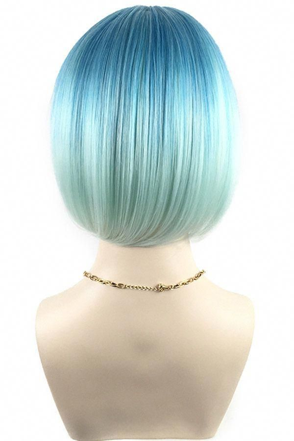 "27/"" Long Layered Wavy Cut with Short Bangs Turquoise Blue Wig Cosplay NEW"