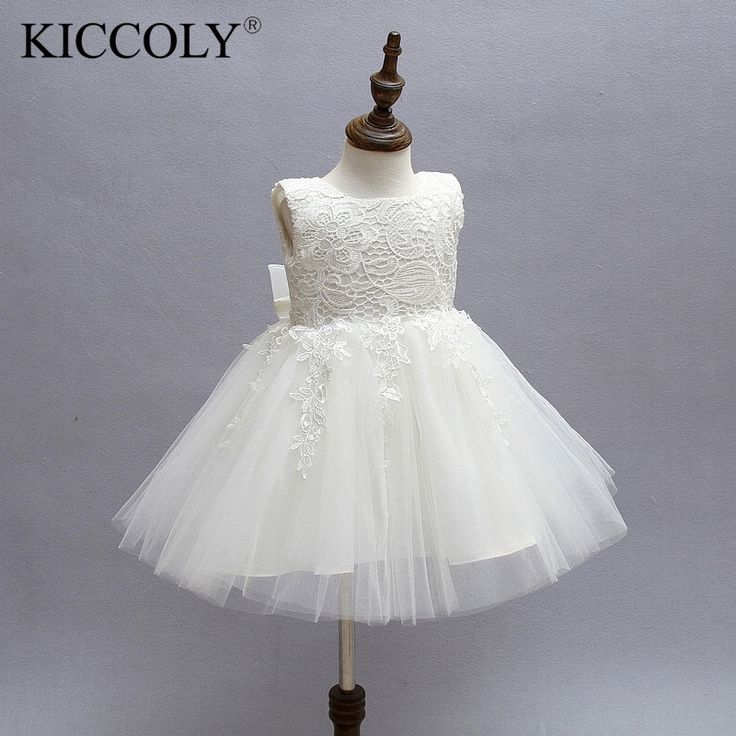 19.68$  Watch now - http://aliih0.shopchina.info/1/go.php?t=32789548309 - White First Communion Dresses For Girls 2016 Brand Tulle Lace Infant Toddler Pageant Flower Girl Dresses for Weddings and Party  #aliexpresschina