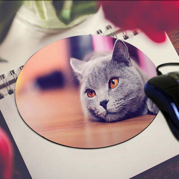 Grey Cat Art Print Mouse Pad Anti-Slip Round Mousepad Gift Gaming Speed Mice Mats //Price: $US $2.09 & FREE Shipping //     #apple