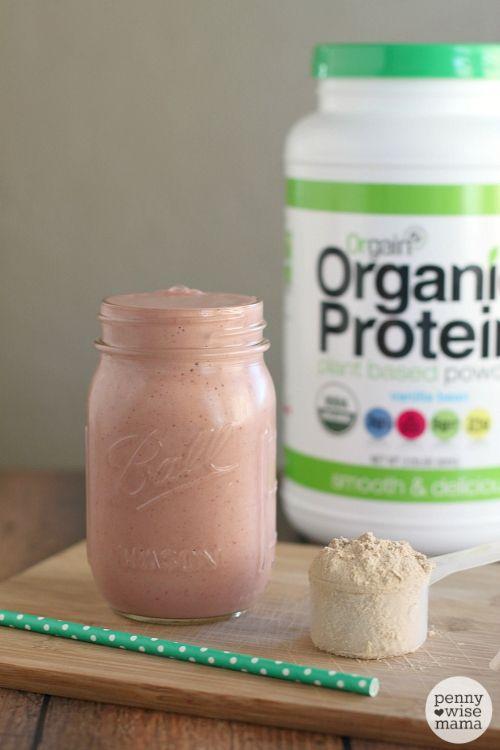 Canister of Orgain Organic Protein Powder & Blender Bottle