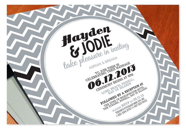 Hayden and Jodie customised the Chevron Off-the-Rack design with their own wedding colours - cool greys.  http://www.paperwedding.co.nz/#!off-the-rack-designs/c1dlq  Chevron © Paper Wedding 2014