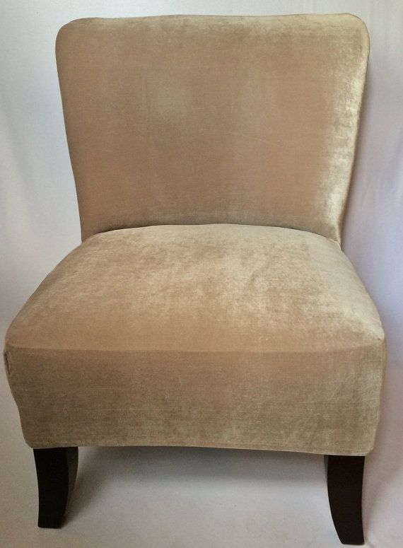 Slipcover Beige Velvet Stretch Chair Cover For Armless