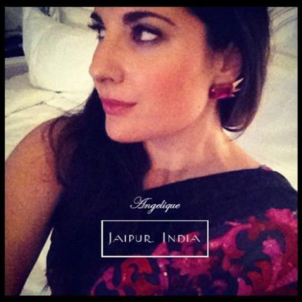 Here's the beautiful @Angélique Turner wearing our Stark earrings in fuchsia at a wedding in Jaipur. Looking gorgeous Ange!