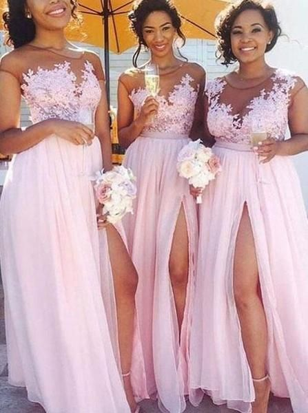 Pink Modest Bridesmaid Dresses with Slit 18e66b99660e
