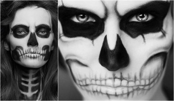 halloween face painting idea women skull black white