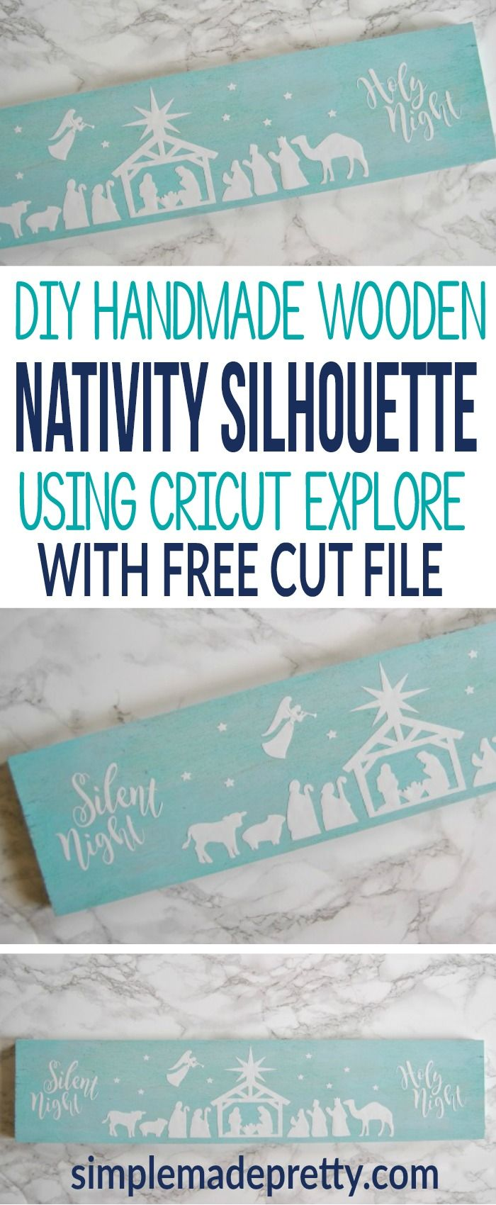 This nativity silhouette on wood is free to cut in Cricut Design Space. Grab the link to the free nativity silhouette template to make this easy rustic Christmas decor DIY idea. I made nativity scene for our Christmas mantle decor and it turned out beautiful. via @SMPblog