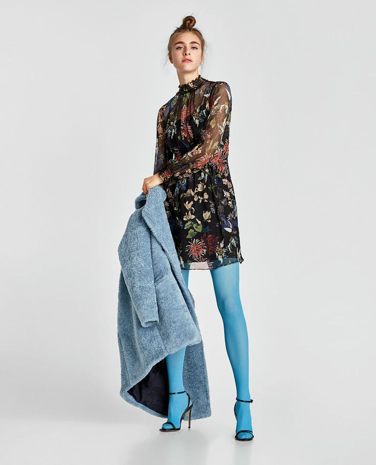 ZARA - NEW COLLECTION - PRINTED DRESS WITH ELASTIC DETAIL