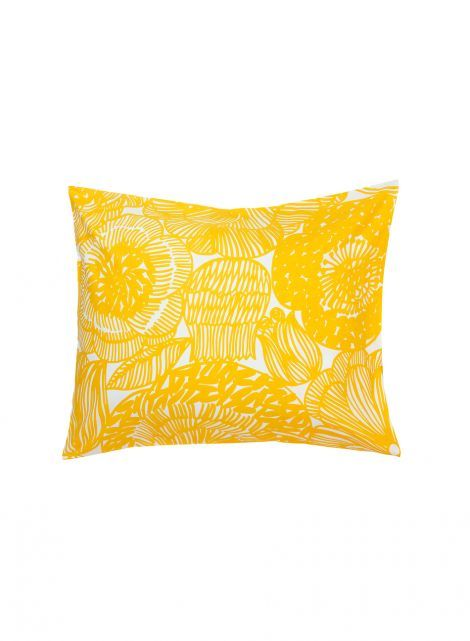 Kurjenpolvi pillow case (white, yellow) |Décor, Bedroom, Pillowcases | Marimekko