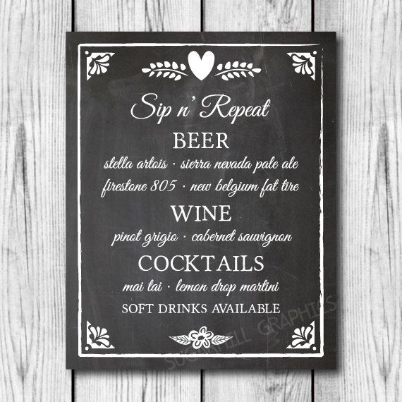 Custom Wedding Bar Menu Sign, Chalkboard Wedding Sign, Printable Wedding Sign, Bar Menu Sign, Wedding Decor, Wedding Signage