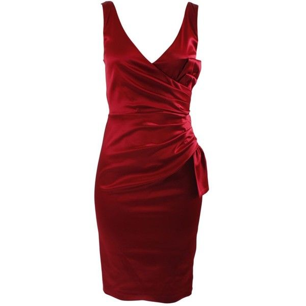 Quba Red Satin Cup Dress ($259) ❤ liked on Polyvore featuring dresses, vestidos, short dresses, red, women, christmas party dresses, party dresses, christmas party cocktail dresses, christmas cocktail dresses and mini party dresses