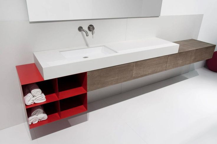 trough sink with wood slab counter and metal shelves Moab80