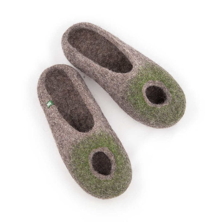OMICRON green summer felted slippers for women