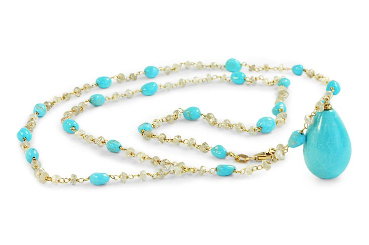Turquoise & natural zircon necklace