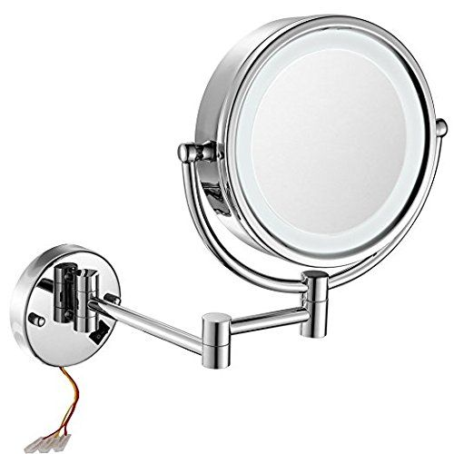 Gurun 8 5 Inch Led Lighted Wall Mount Hardwired Makeup Mirror With 10x Magnification Wall Mounted Makeup Mirror Lighted Magnifying Makeup Mirror Makeup Mirror