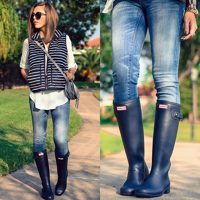 Stripe vest + jeans + Hunter boots