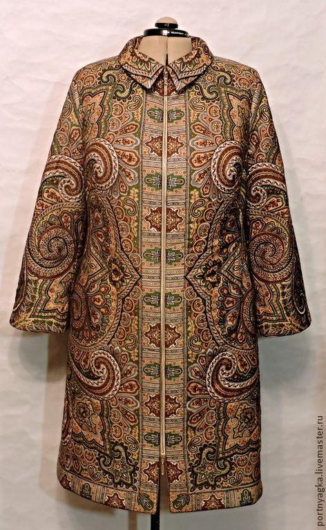 Купить Пальто летнее Классика по русски(из ППП) - оливковый, орнамент, пальто летнее, пальто из платка