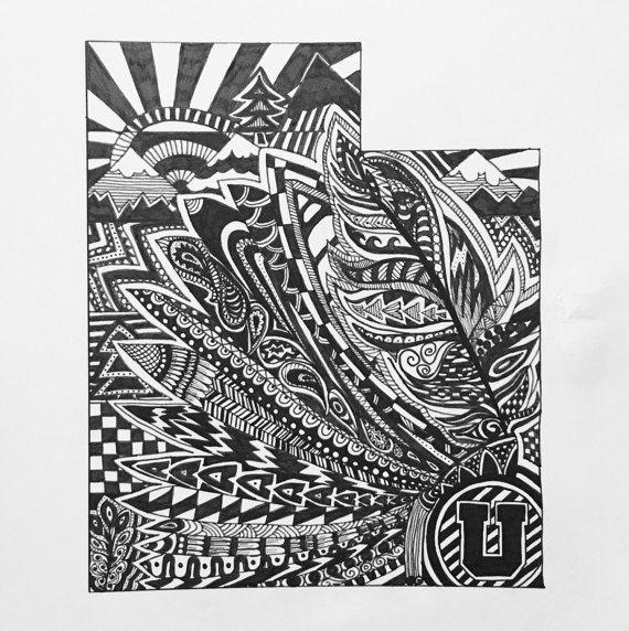Custom Utah state art.  Hand drawn. Made to order. Pen and ink.  #zentangle #stateart #penandink #art #artwork #Utah #BYU #SLCtemple #blackandwhite #illustration #drawing #wallart