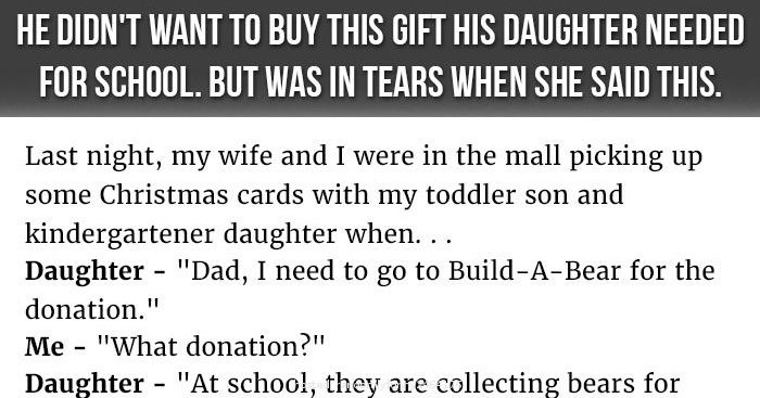 Dad Doesn't Want To Buy This Gift His Daughter Needed For School. But Was In Tears When She Said This.  She asked him for a donation gift...and then did THIS!  READ THE WHOLE THING HERE or CLICK THE PIC >>  http://randomlyfunny.org/0e01d927c9126