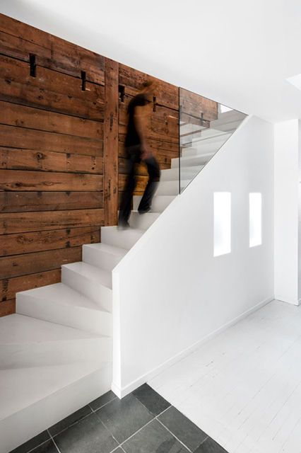 Minimalist Wooden Homes. Love the staircase + glass concept