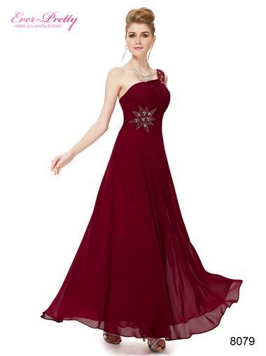 Elegant One Shoulder Deep Red Long Evening Dress #cranberry #bridesmaids