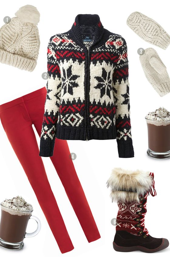 lodge luxe ski holiday winter outfit, ralph lauren, red white & blue fair isle