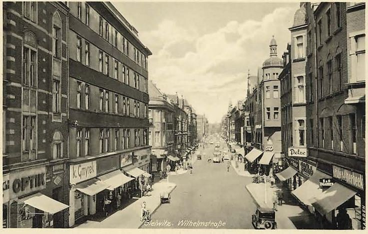 This image shows Gleiwitz, Poland in 1943. Though the town is under German occupation, business seems to be continuing as usual. Little do the inhabitants know that in a year's time, not one, but four subcamps of Auschwitz will be established nearby. http://auschwitz.org/en/history/auschwitz-sub-camps/ http://gliwice.fotopolska.eu/191776,foto.html