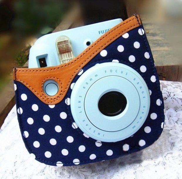 Colorful Dots Spot Camera PU Leather Case Bag For Fujifilm Instax mini 8 + Free Shoulder Strap - Blue