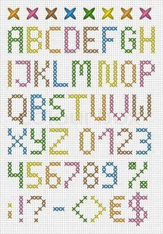 Stock-Vektor von 'Bunte Kreuzstich Großbuchstaben Englisch Alphabet'