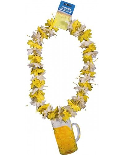 Gele Hawaii Krans met daaraan een Bierpul.