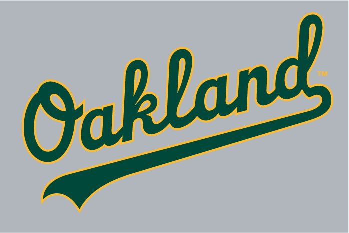 Oakland Athletics Jersey Logo (1993) - (Road) Oakland scripted in green with a yellow outline on grey