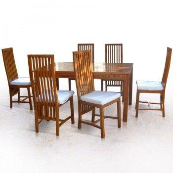 Set Meja Makan Minimalis Balero  adalah meja makan minimalis dari kayu jati yang terdiri dari 1 meja dan 6 kursi. Ini adalah paket dari Kursi Makan Balero kode produk KMK-003 dan Meja Makan Minimalis Jati kode produk MMK-002.