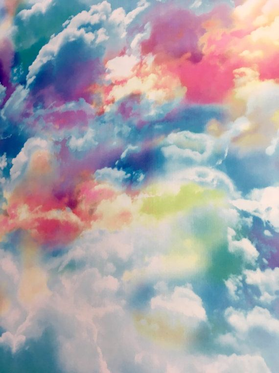 4 Way Stretch Printed Spandex Fabric Rainbow Clouds In