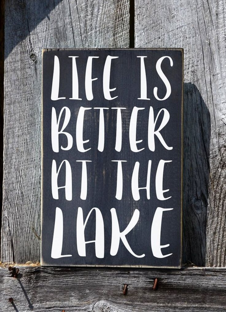 """Welcome to my shop! This is a great hand painted wooden sign for the lake house and lake lovers that reads, """"Life Is Better At The Lake"""". This is a hand painted"""