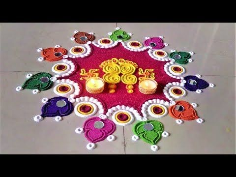 Small  easy and quick rangoli design  Easy rangoli designs by DEEPIKA PANT - YouTube